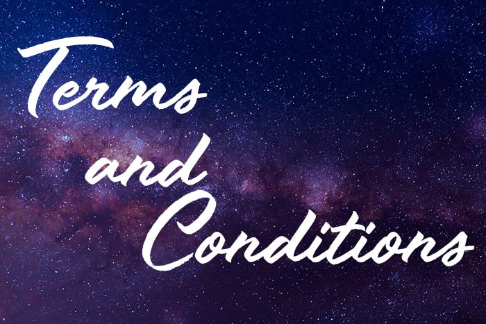 "Image of sky that is blue and purple with stars. The caption reads ""terms and conditions"""