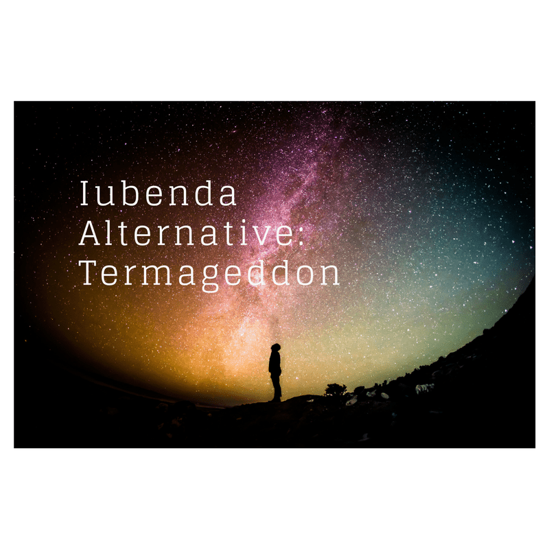Image of the shadow of a person. The person is looking up at the sky, which is purple and blue and full of stars. The caption states: Iubenda alternative: Termageddon.