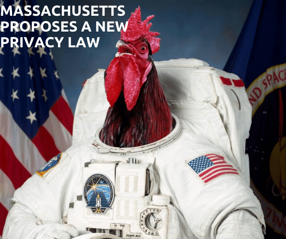 """Image of a rooster in a space suit in front of two flags. Caption states """"Massachusetts proposes a new privacy law""""."""