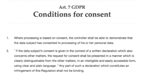 Article 7 of GDPR: Conditions of consent actual text
