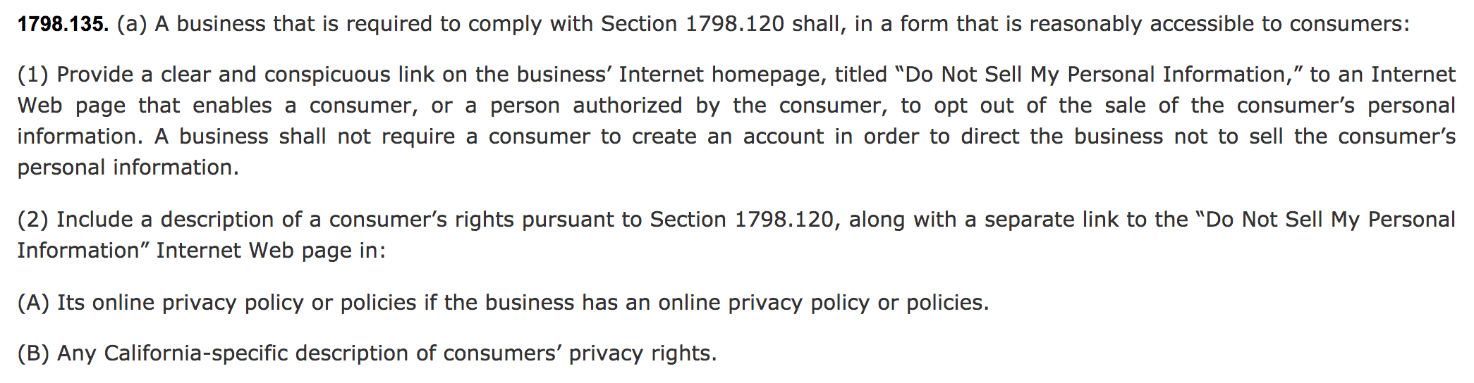 CCPA requires a Privacy Policy