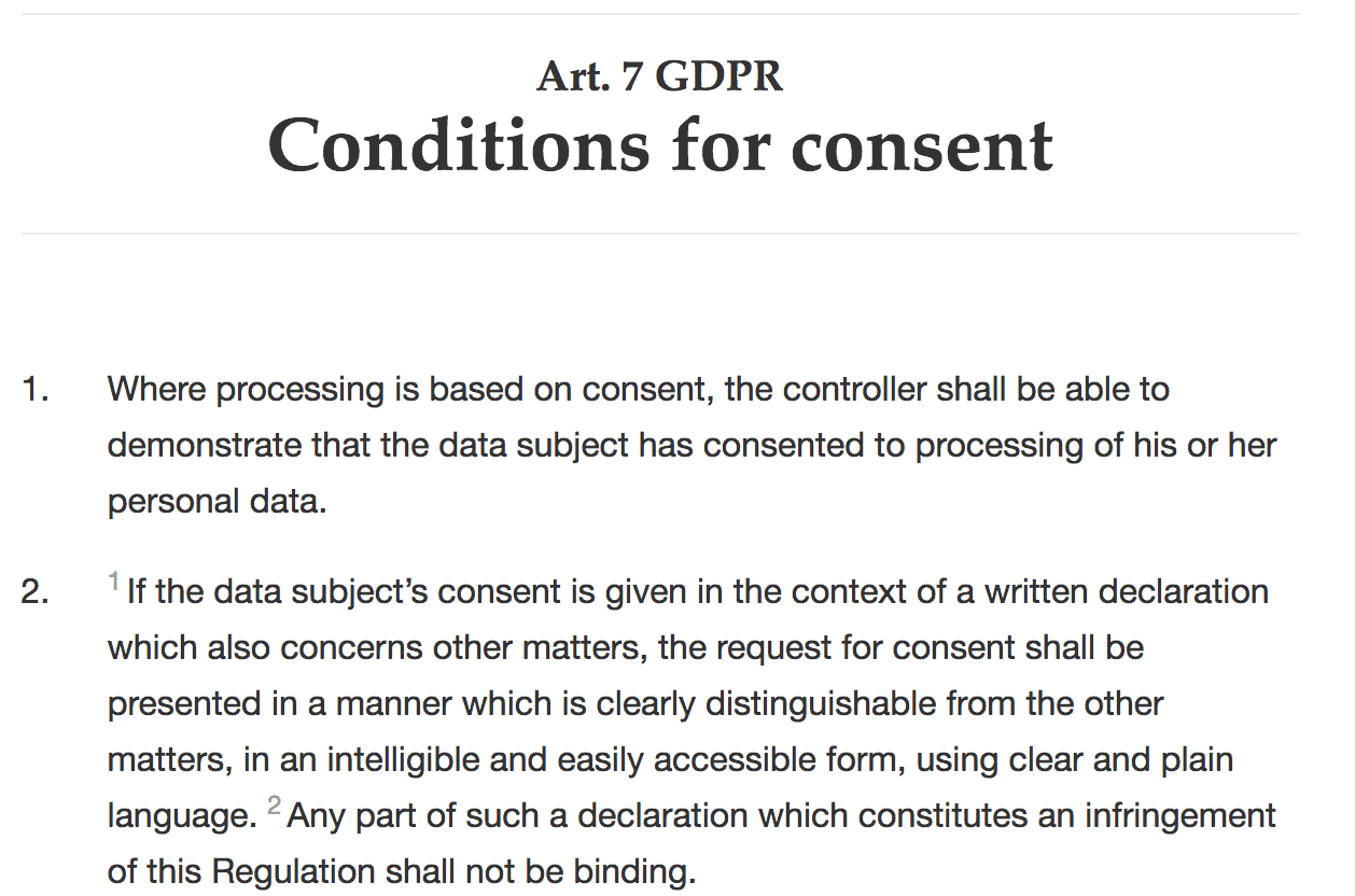 Consent for GDPR