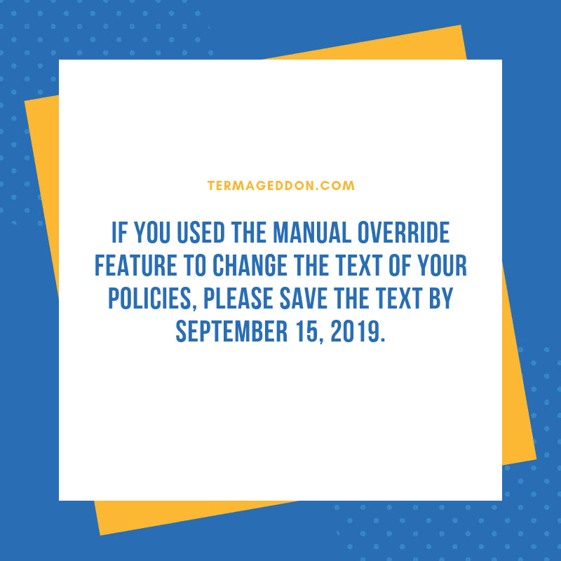 Manual overrides - please save