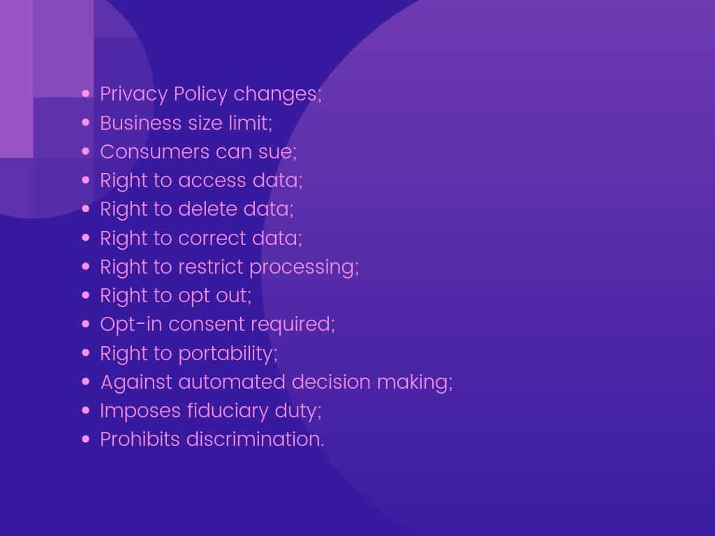 Concepts that the state privacy bills cover