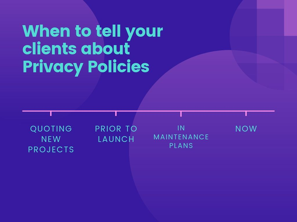 When to tell your clients about Privacy Policies