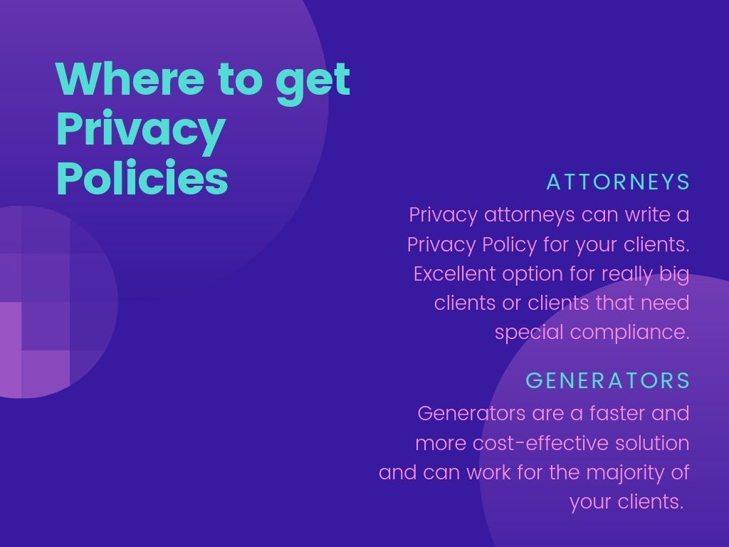 Where to get Privacy Policies