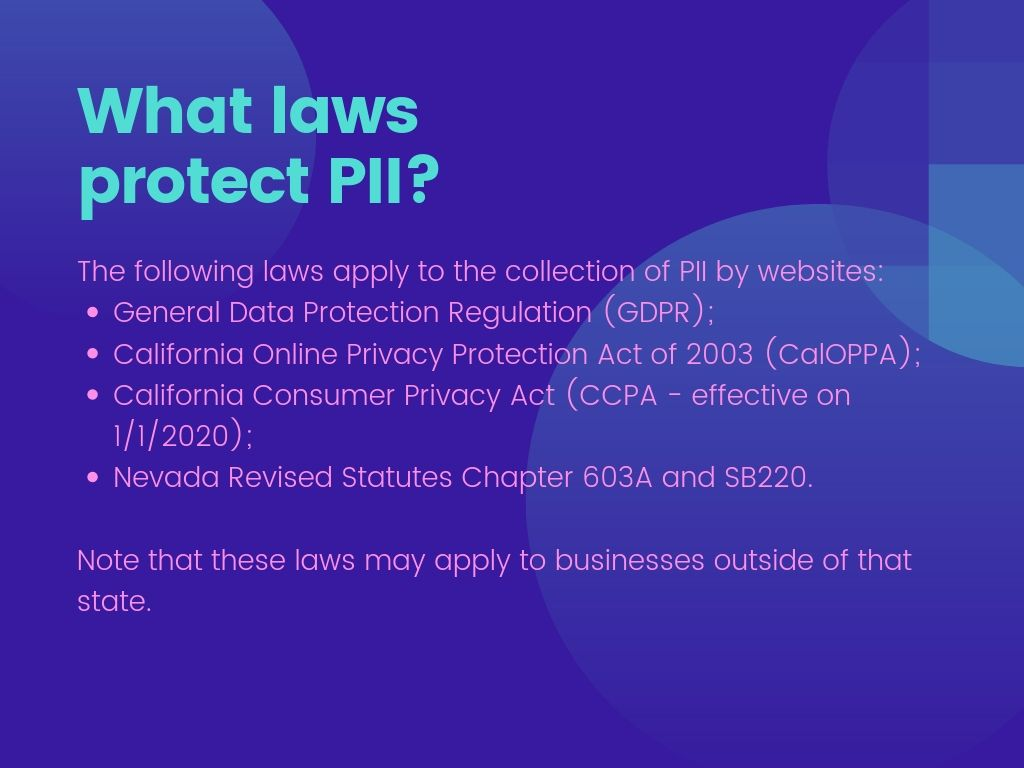What laws protect PII?
