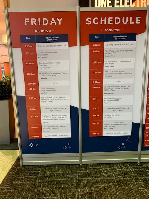 Schedule showing the speakers and events at WordCamp