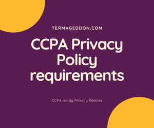 CCPA Privacy Policy requirements