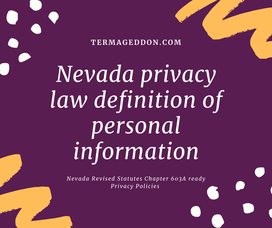 Nevada 603a definition of personal information