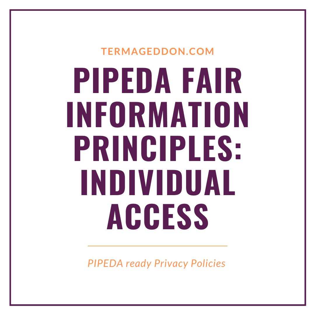 PIPEDA Fair Information Principles: Individual Access